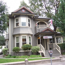 558 B Street. Built between 1890-1895. Style: Queen Anne. Historic name: Frank Berka House. Built by lumberman Frank Berka who got is start working with Colonel James Armstrong of Armstrong Woods. The Frank Berka lumber yard was purchased by Yaeger and Kirk in the 1970's.