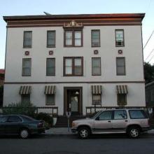 "526 B Street. Built: 1922. Style:  Mediterranean Revival. Historic name: ""Rosemont Apartments""."