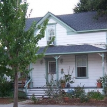 """541 A Street.  Built in 1870. Moved to present location between1904-1908. Style: Carpenter Gothic  Historic name: """"Bayler House""""."""