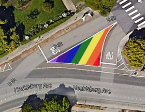 Rainbow Flag in traffic triangle by Brew